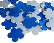 פרח סול נוצץ כחול לבן גדול